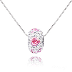 Collier I Love You en Argent orné de SWAROVSKI  ELEMENTS Rose Clair