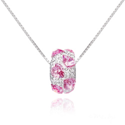 Collier Coeur en Argent orné de SWAROVSKI  ELEMENTS Rose