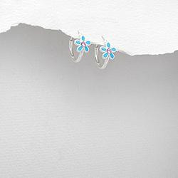 Boucles d'Oreilles Petites Fleurs en Argent et Email Bleu