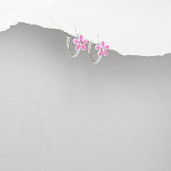 Boucles d'Oreilles Petites Fleurs en Argent et Email Rose