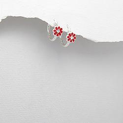 Boucles d'Oreilles Petites Fleurs en Argent et Email Rouge