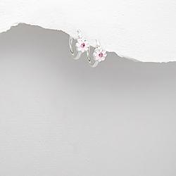 Boucles d'Oreilles Petites Fleurs en Argent et Email Rose clair