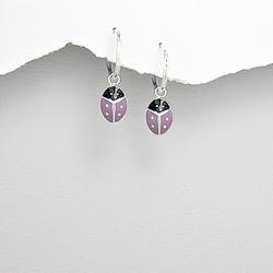 Boucles d'Oreilles Coccinelle en Argent et Email Violet