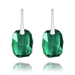 Boucles d'Oreilles Graphic 19mm en Argent et Cristal Vert Émeraude
