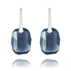 Boucles d'Oreilles Graphic 19mm en Argent et Cristal Denim Blue