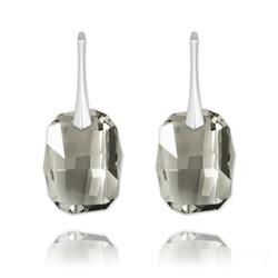 Boucles d'Oreilles Graphic 19mm en Argent et Cristal Black Diamond