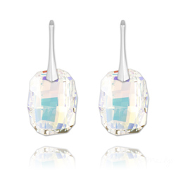 Boucles d'Oreilles Graphic 19mm en Argent et Cristal Aurore Boréale