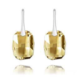 Boucles d'Oreilles Graphic 19mm en Argent et Cristal Champagne