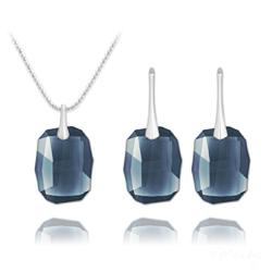 Parure Graphic en Argent et Cristal Denim Blue