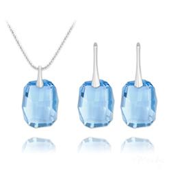 Parure Graphic en Argent et Cristal Bleu