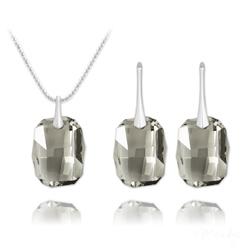 Parure Graphic en Argent et Cristal Black Diamond