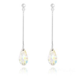 Boucles d'Oreilles Briolette en Argent et Cristal Aurore Boréale