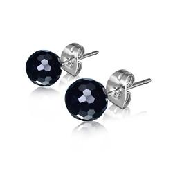 Clous d'Oreilles Diamant Cz Noir 6mm en Acier