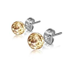 Clous d'Oreilles Diamant Cz Champagne 6mm en Acier