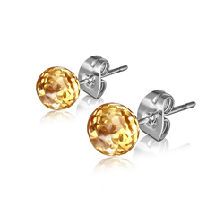 Clous d'Oreilles Diamant Cz Orange  6mm en Acier