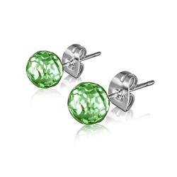 Clous d'Oreilles Diamant Cz Vert 6mm en Acier