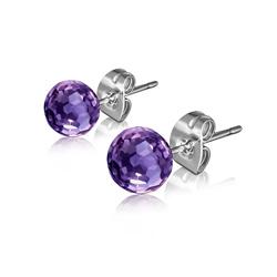 Clous d'Oreilles Diamant Cz Violet 6mm en Acier