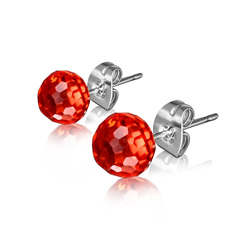 Clous d'Oreilles Diamant Cz Rouge 6mm en Acier