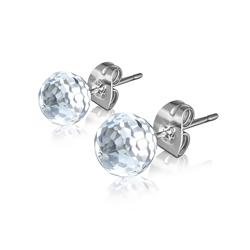 Clous d'Oreilles Diamant Cz Blanc 6mm en Acier