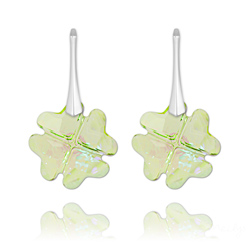 Boucles d'Oreilles Trèfle en Argent et Cristal Luminous Green