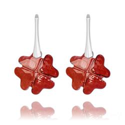 Boucles d'Oreilles Trèfle en Argent et Cristal Rouge Magma