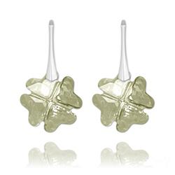 Boucles d'Oreilles Trèfle en Argent et Cristal Silver Shade