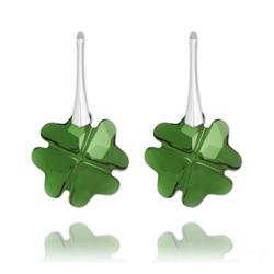 Boucles d'Oreilles Trèfle en Argent et Cristal Vert Foncé