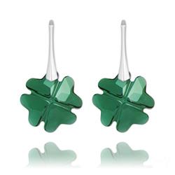 Boucles d'Oreilles Trèfle en Argent et Cristal Vert Émeraude
