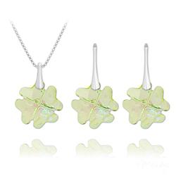 Parure Trèfle en Argent et Cristal Luminous Green