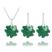 Parure Tr�fle en Argent et Cristal SWAROVSKI ELEMENTS Vert �meraude
