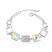 Bracelet Design Carr� Plaqu� Or Blanc et Cristal Bor�al