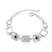 Bracelet Design Carr� Plaqu� Or Blanc et Cristal Champagne