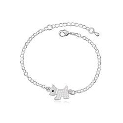 Bracelet Chien Scottish Terrier Plaqué Or blanc et Cristal Blanc