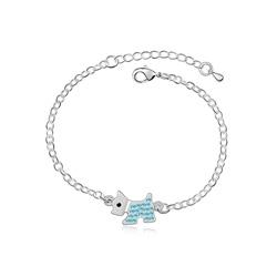 Bracelet Chien Scottish Terrier Plaqué Or blanc et Cristal Bleu