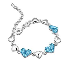 Bracelet Coeur Plaqué Or Blanc et Cristal Bleu