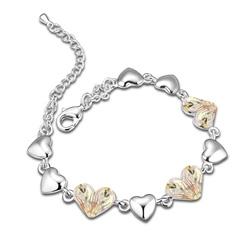 Bracelet Coeur Plaqué Or Blanc et Cristal Vert Lumineux