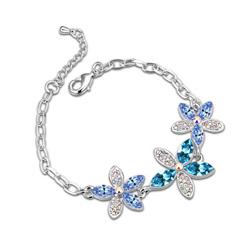 Bracelet 3 Fleurs Plaqué Or Blanc et Cristal Bleu