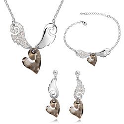 Parure Coeur Ailé Plaqué Or Blanc et Cristal Black Diamond