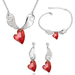 Parure Coeur Ailé Plaqué Or Blanc et Cristal Rouge