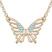 Collier Papillon Plaqu� Or Rose et Cristal Bleu