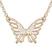 Collier Papillon Plaqu� Or Rose et Cristal Blanc