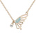 Collier Papillon Plaqu� Or Rose et Cristal Bleu