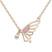 Collier Papillon Plaqu� Or Rose et Cristal Rose