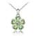 Collier Fleur Plaqu� Or Blanc et Cristal Vert