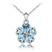 Collier Fleur Plaqu� Or Blanc et Cristal Bleu