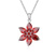 Collier Fleur Plaqu� Or Blanc et Diamant CZ Rouge