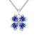 Collier Tr�fle 4 Feuilles Plaqu� Or Blanc et Cristal Bleu Saphir