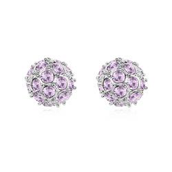 Boucles d'Oreilles DiscoBall Plaqué Or Blanc et Cristal Violet