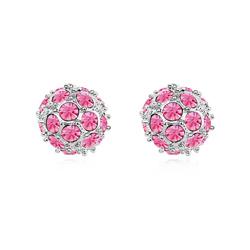 Boucles d'Oreilles DiscoBall Plaqué Or Blanc et Cristal Rose