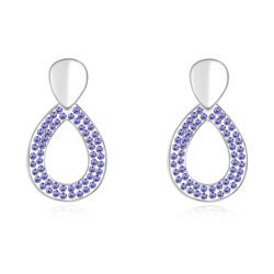 Boucles d'Oreilles Goutte Plaqué Or Blanc et Cristal Violet